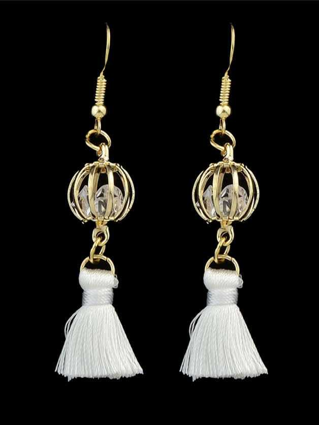 Фото White Color  Colorful Boho Style Rhinestone Thread Tassel Drop Earrings. Купить с доставкой