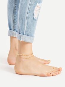 Bracelet de cheville à perles multicouches en cristal