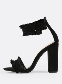 Ankle Strap Fringe Heels BLACK