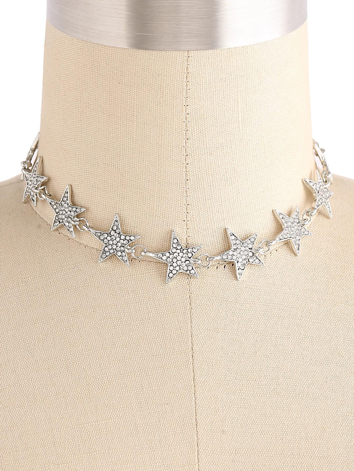 Rhinestone Embellished Star Design Choker 2pcs tiny rhinestone clover embellished hairpins