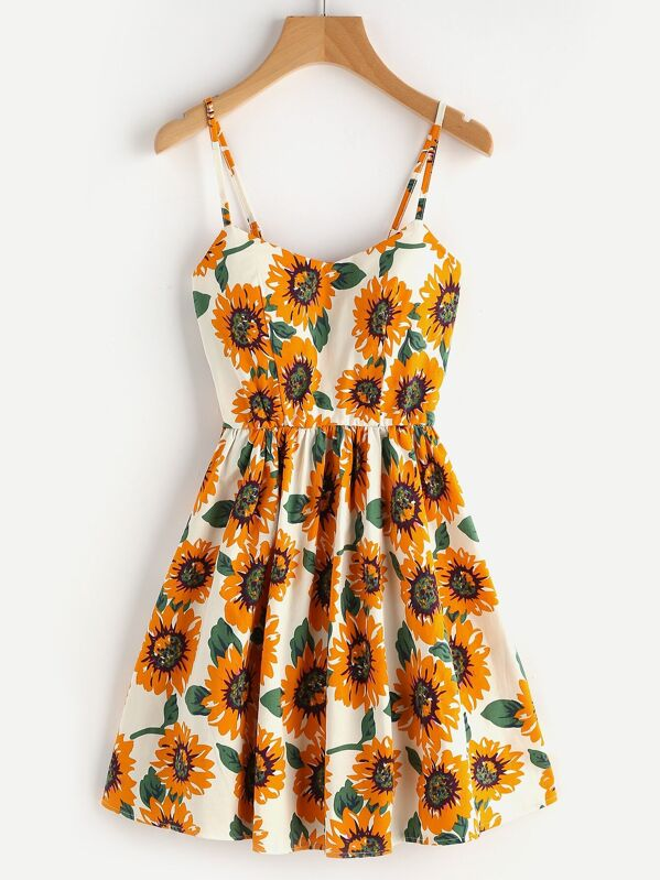 Random Sunflower Print Crisscross Back A Line Cami Dress, null