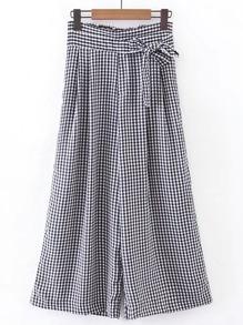 Pantalon large à carreau élastique avec nœud papillon