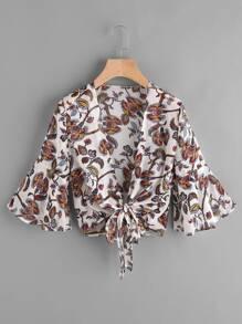 Manicotto fluttuato stampato il kimono chiffon nodo casuale