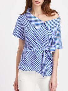 Asymmetric Collar Tie Waist Gingham Blouse