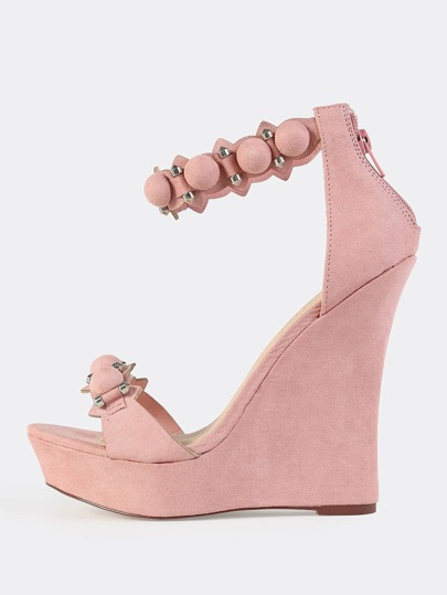 Faux Suede Bar Stud Wedges DUSTY PINK