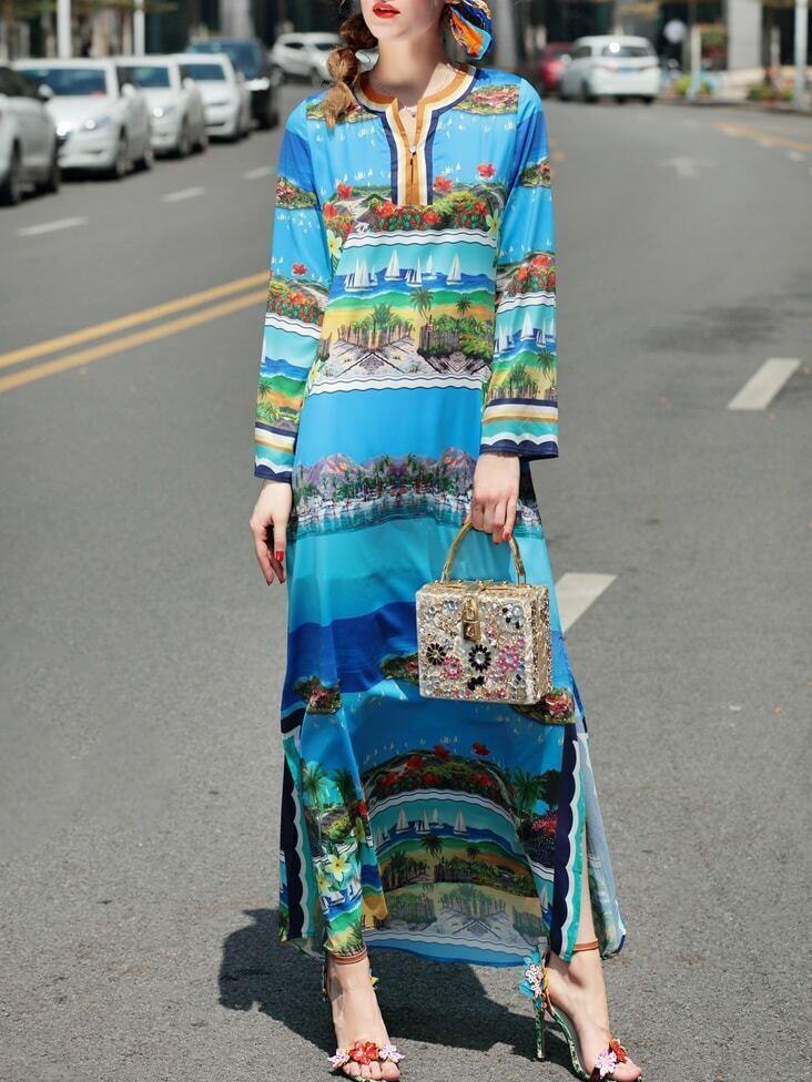 Beach Print Split Maxi Dress dress170504611