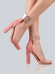 Double Eyelet Clear Ankle Strap Heels BLUSH