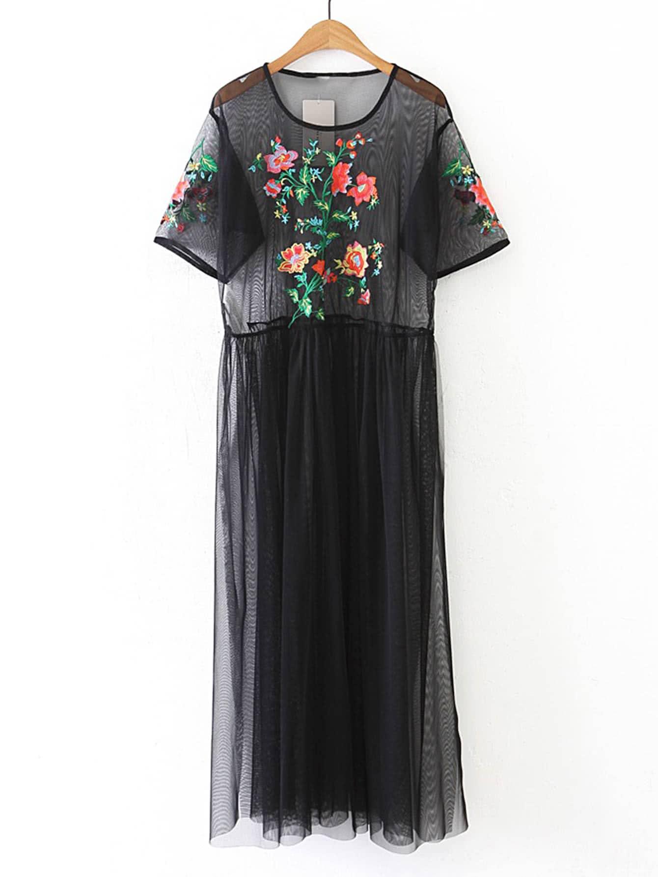 Фото Flower Embroidery Sheer Mesh Dress. Купить с доставкой