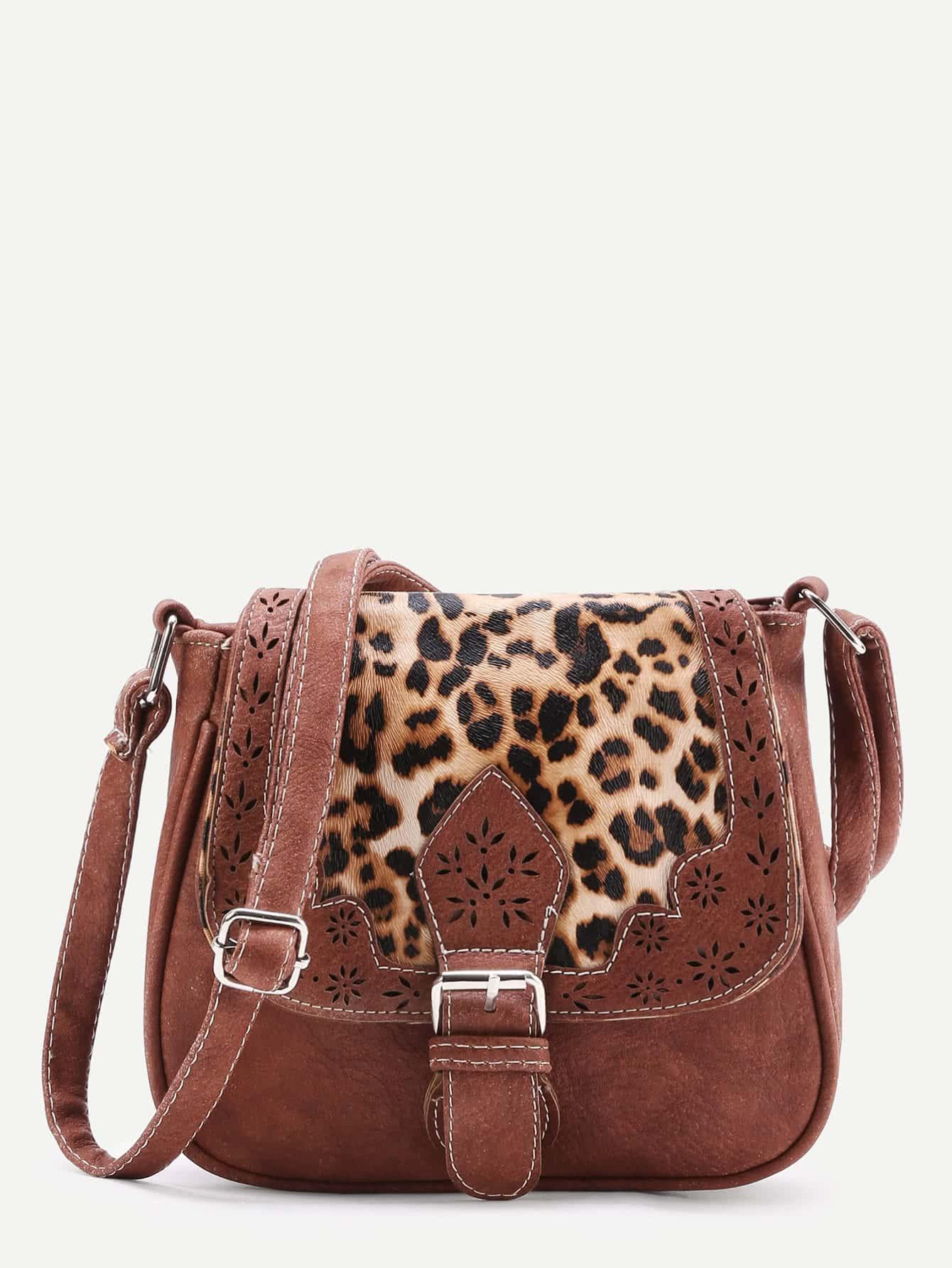 Фото Laser Cut Detail Shoulder Bag With Leopard Flap. Купить с доставкой
