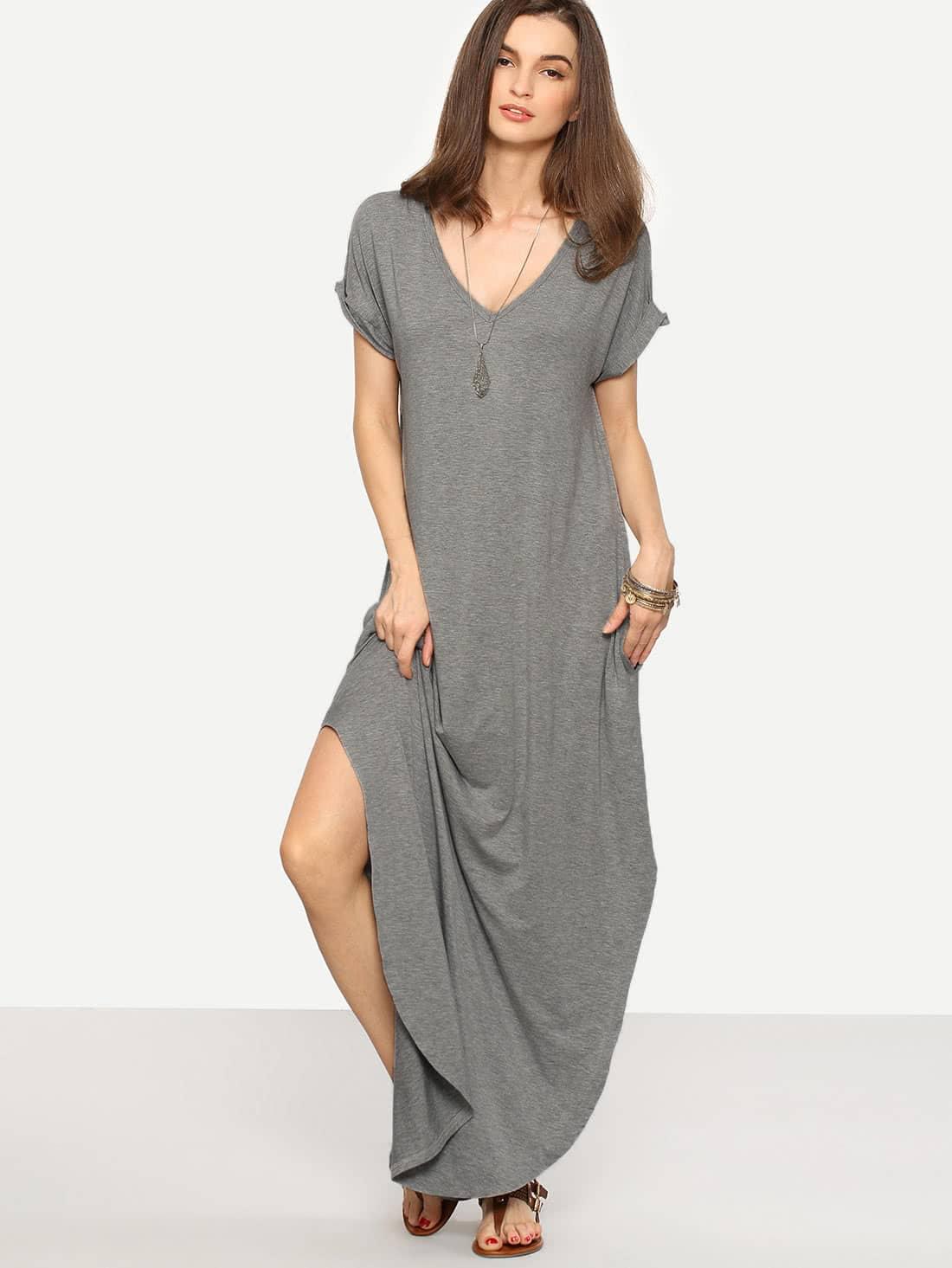 Heather Knit Rolled-cuff Pockets Side Split Dress heather knit swing dress