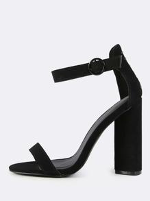 Ankle Strap Triangular Heels BLACK