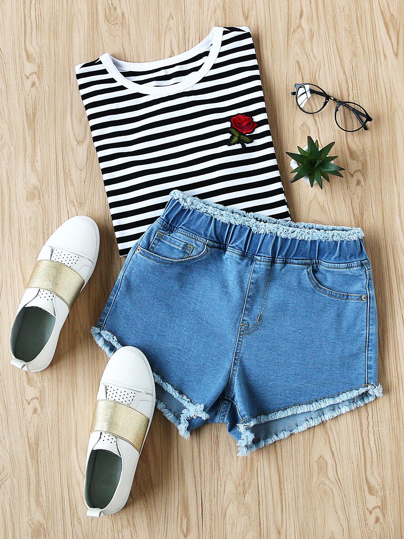 Фото Elastic Waist Frayed Denim Shorts. Купить с доставкой