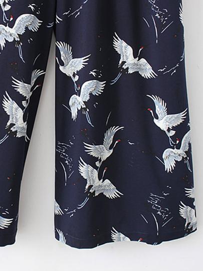 SheIn / Cranes Print Tie Waist Zipper Back Jumpsuit