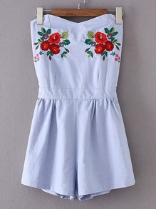 Sweetheart Open Back Embroidery Playsuit