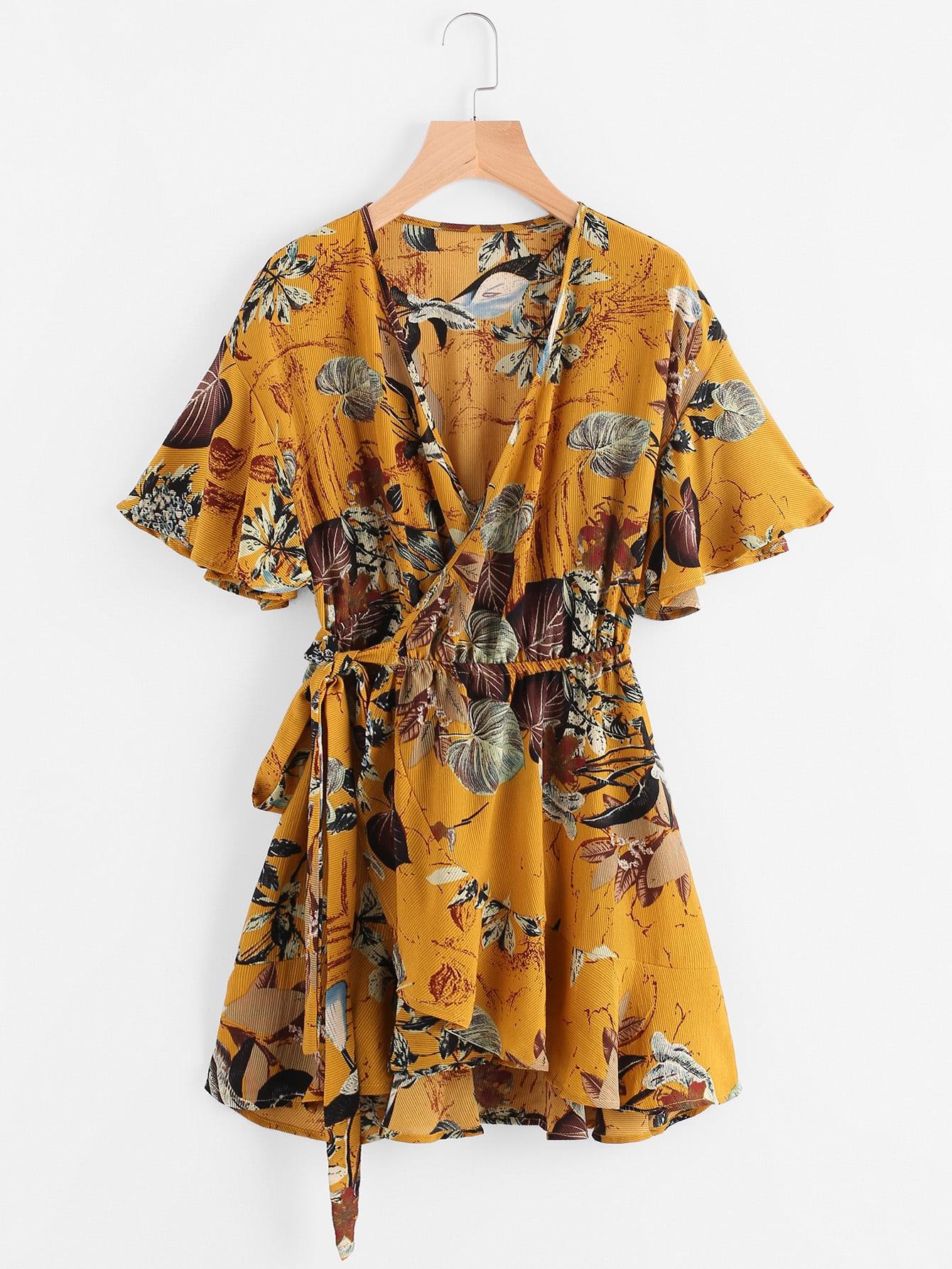 Фото Ruffle Sleeve Palm Leaf Wrap Tie Waist Dress. Купить с доставкой
