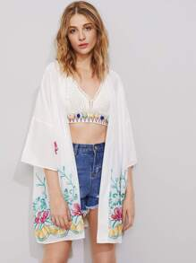 Drop Shoulder Botanical Embroidered Kimono