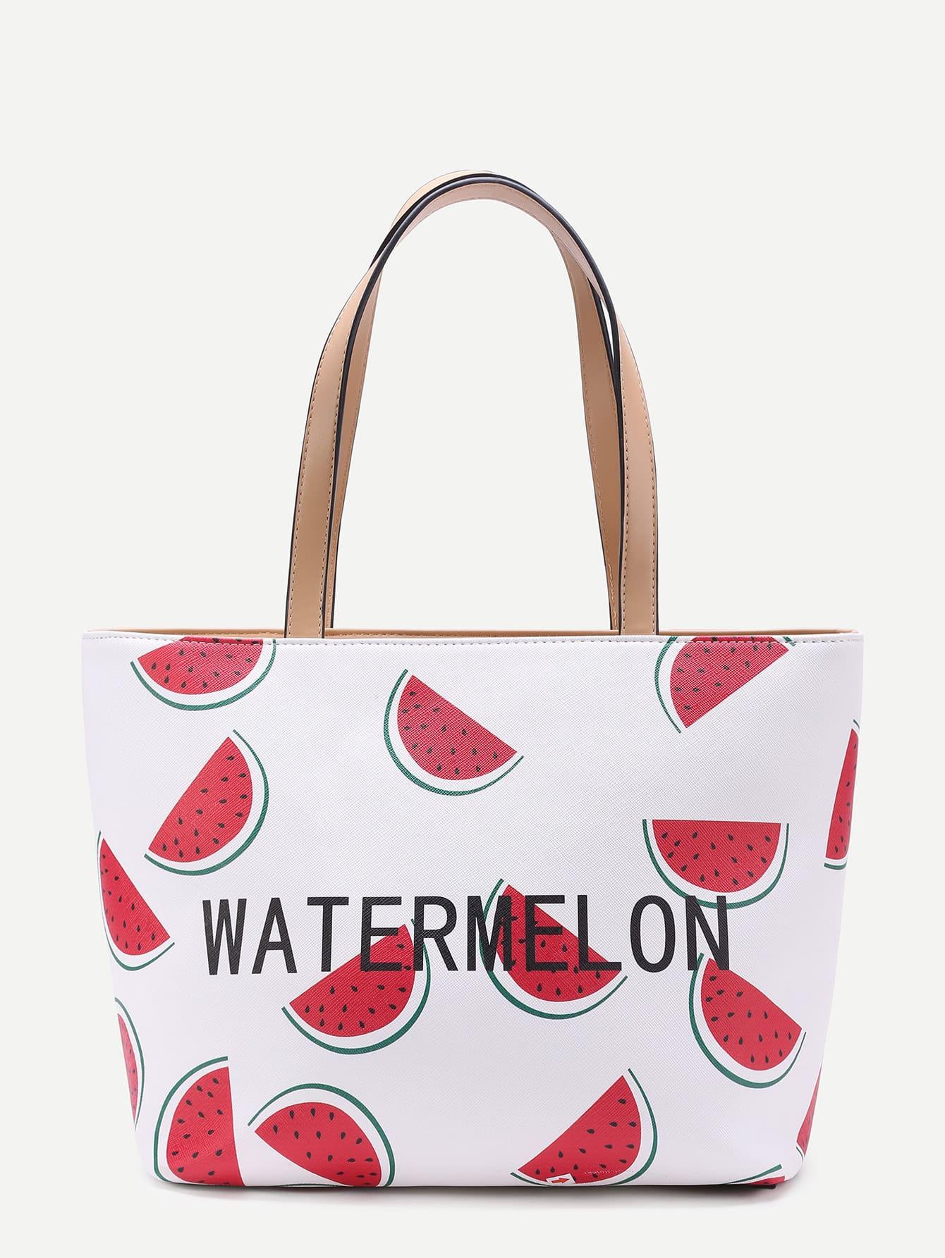 Фото Watermelon & Letter Print Tote Bag. Купить с доставкой