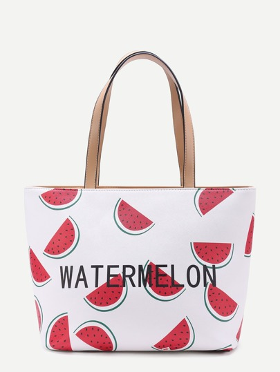 Watermelon & Letter Print Tote Bag