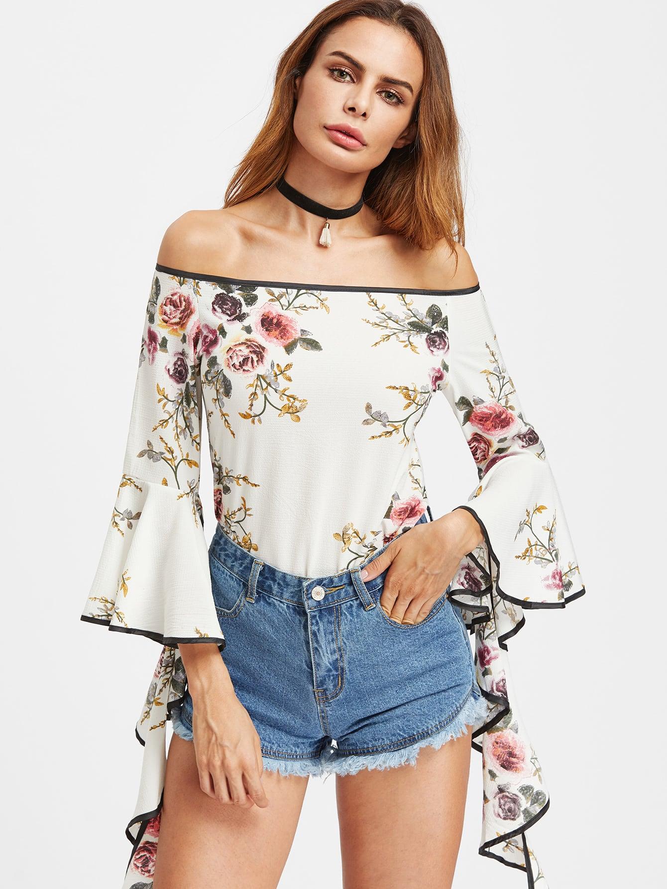 Bardot Floral Print Contrast Trim Flare Sleeve Top
