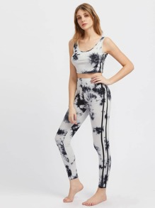 Side Striped Tie Dye Tank Top And Leggings Activewear Set