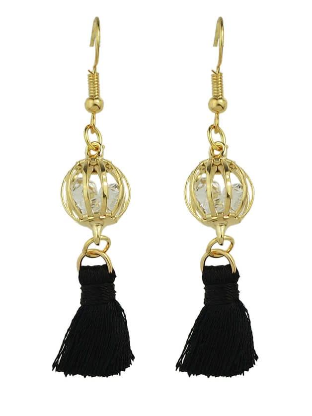 Фото BLack Color Boho Style Rhinestone Thread Tassel Drop Earrings. Купить с доставкой