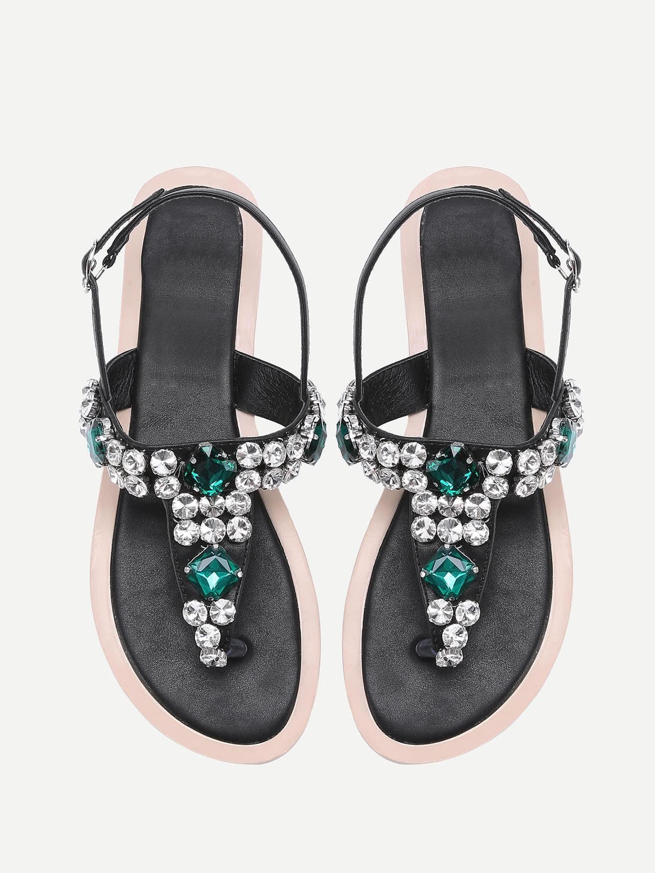 Фото Gemstone Decorated T Strap Sandals. Купить с доставкой