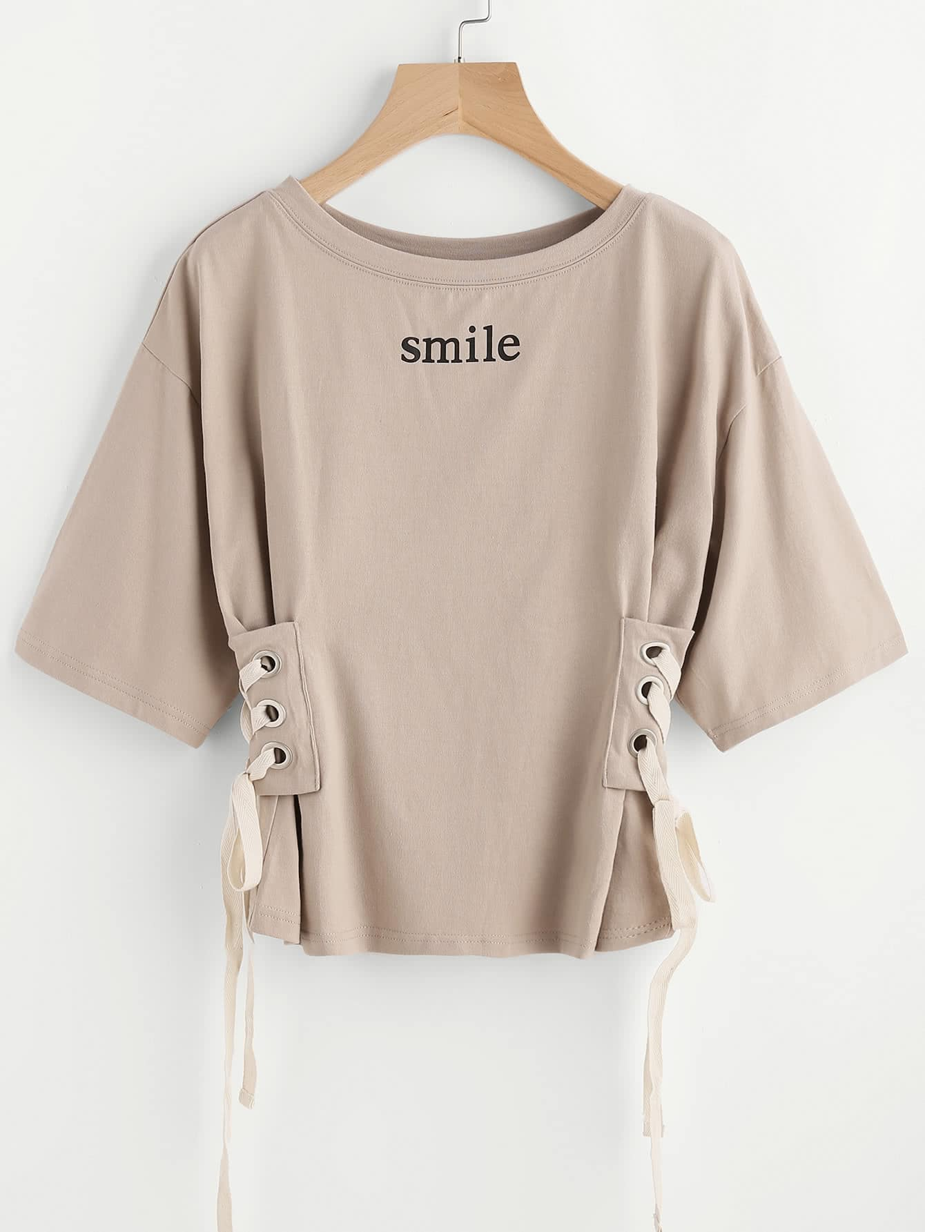 Drop Shoulder Grommet Lace Up Side Tee drop shoulder grommet tie detail sweatshirt
