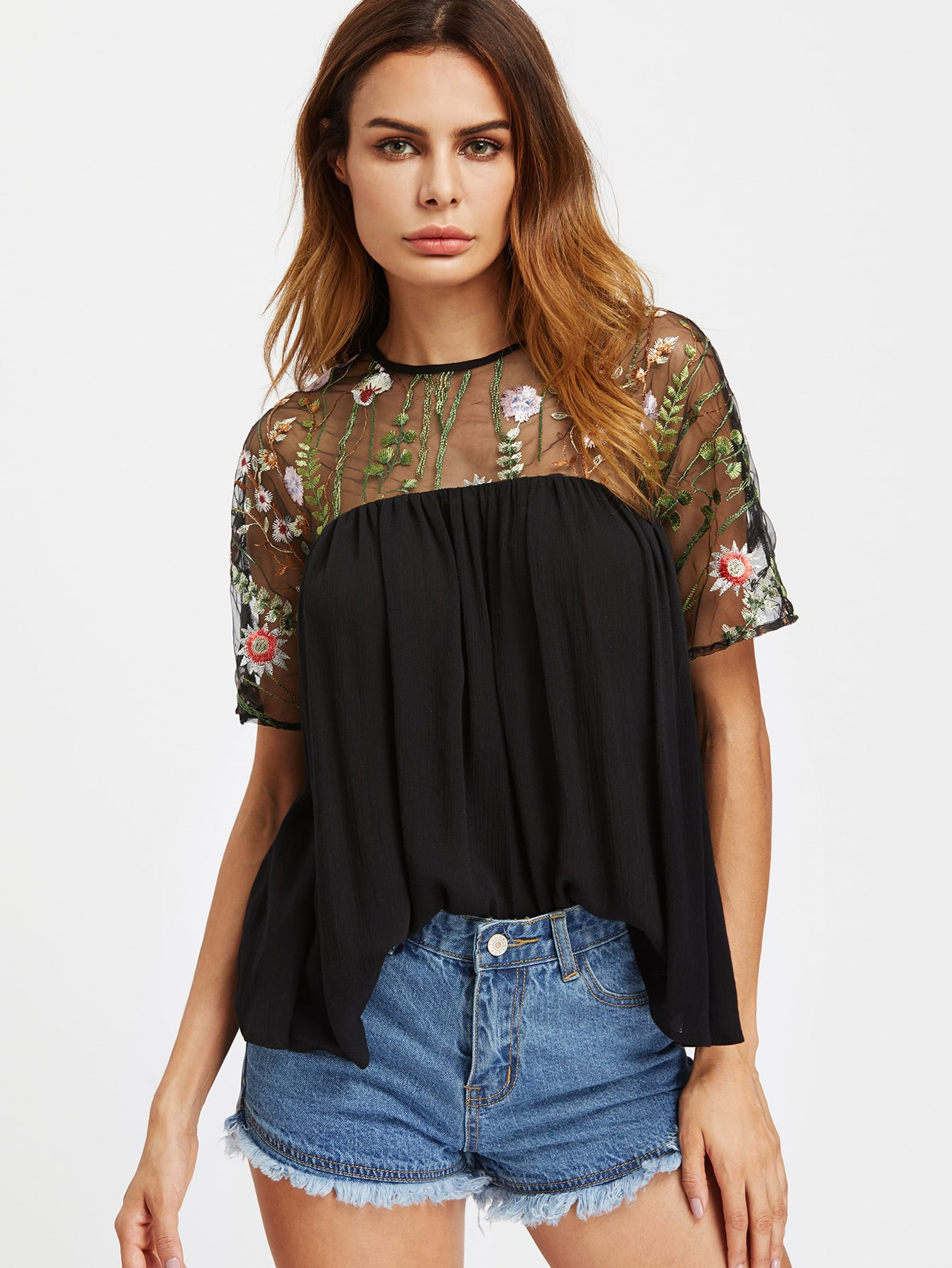 Embroidered Mesh Shoulder Buttoned Keyhole Back Smock Top buttoned keyhole back 2 in 1 embroidered mesh top