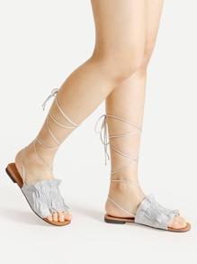Ruffle Design Criss Cross Flat Sandals