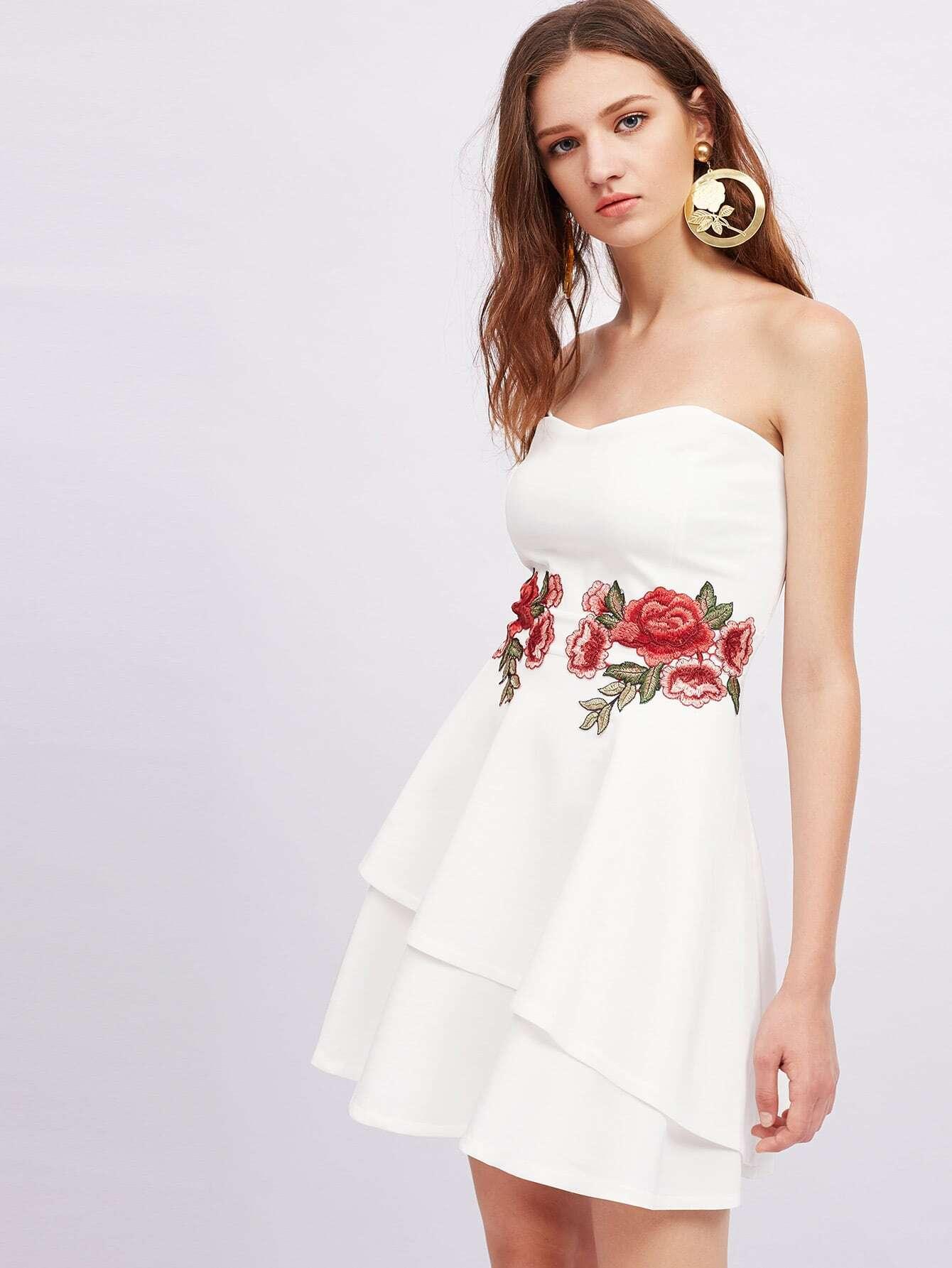 Фото Symmetrical Appliques Layered Hem Bandeau Dress. Купить с доставкой