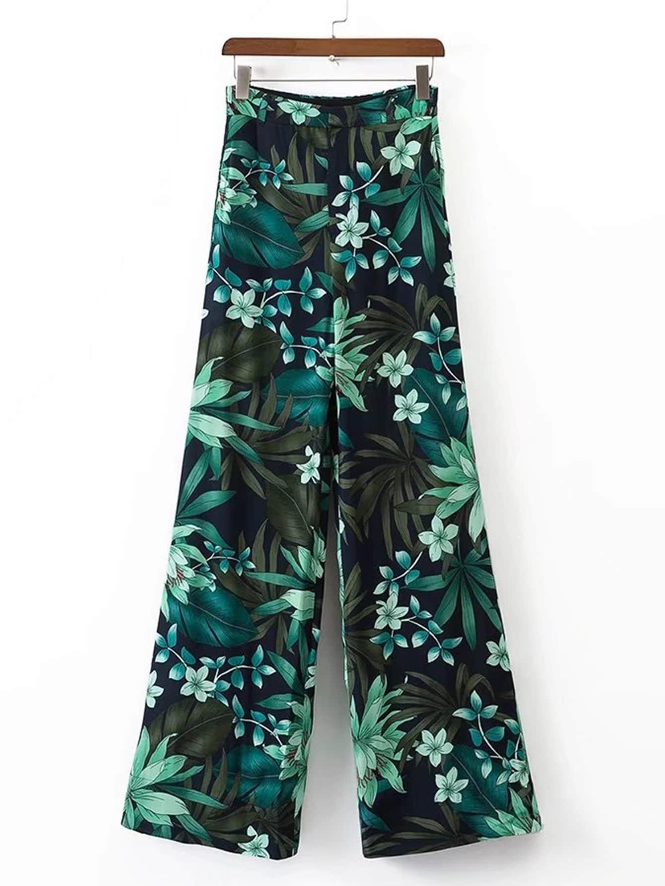 Elastic Waist Wide Leg Pants pants170516201