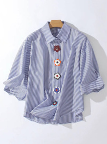 Flowers Embellished With Buttons Pinstripe Blouse