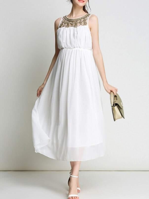 Фото Beading Sheer Elastic-Waist Long Dress. Купить с доставкой