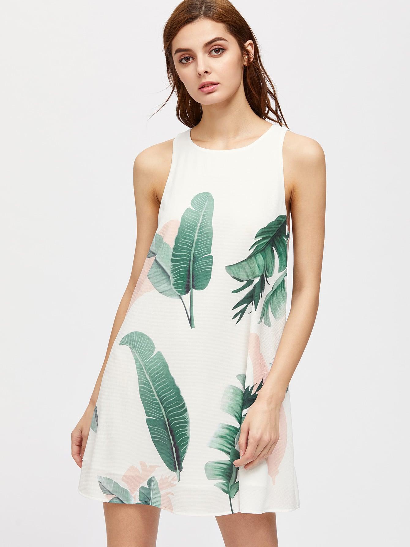 Фото Foliage Print Buttoned Keyhole Back Tank Dress. Купить с доставкой