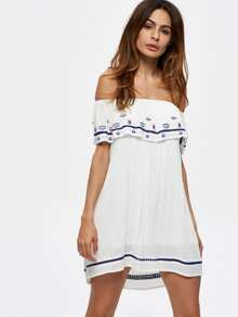 Flounce Layered Neckline Embroidered Dress