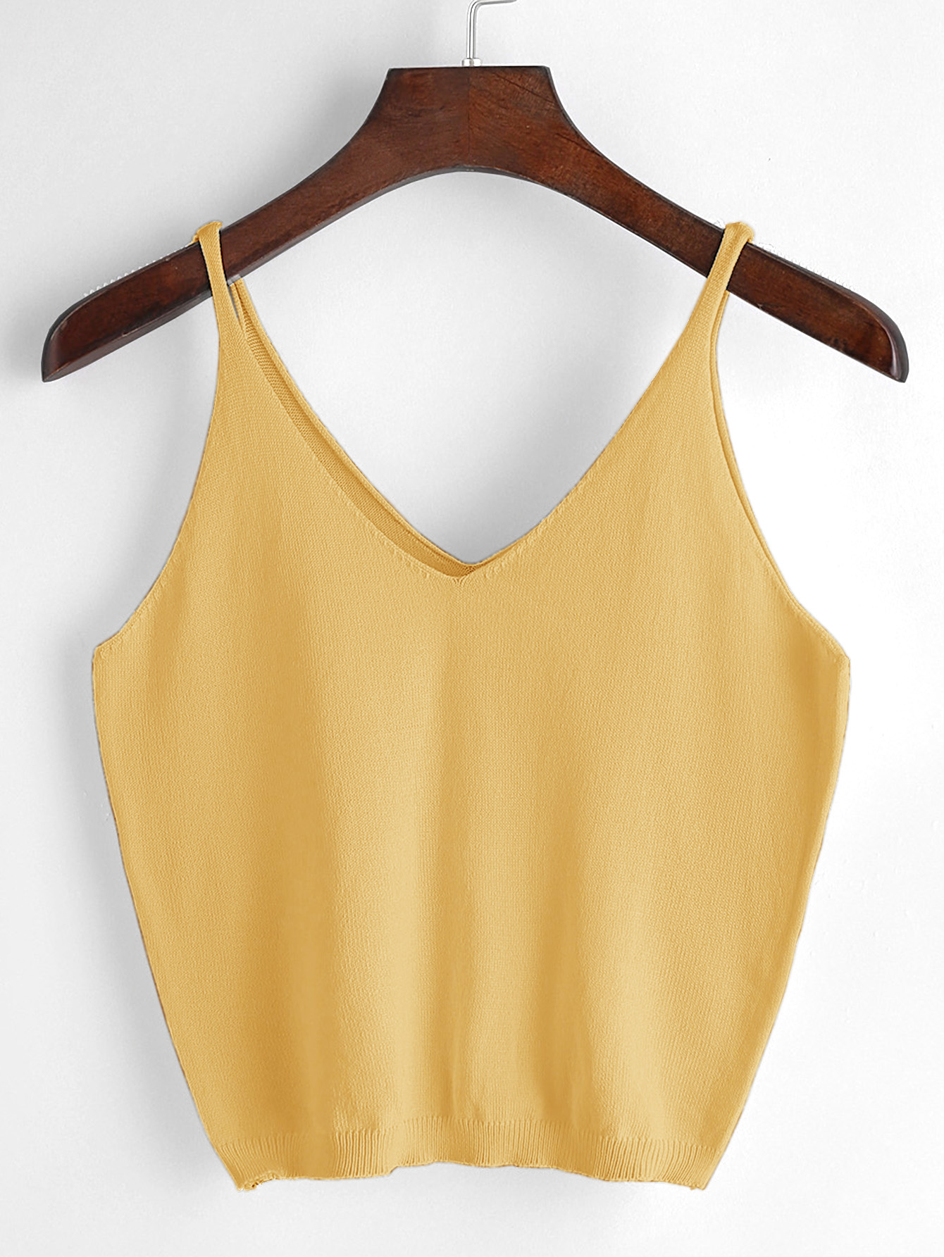 V Neckline Knit Cami Top
