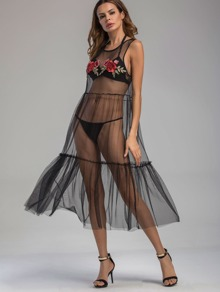 Embroidered Applique See-Through Tiered Mesh Dress