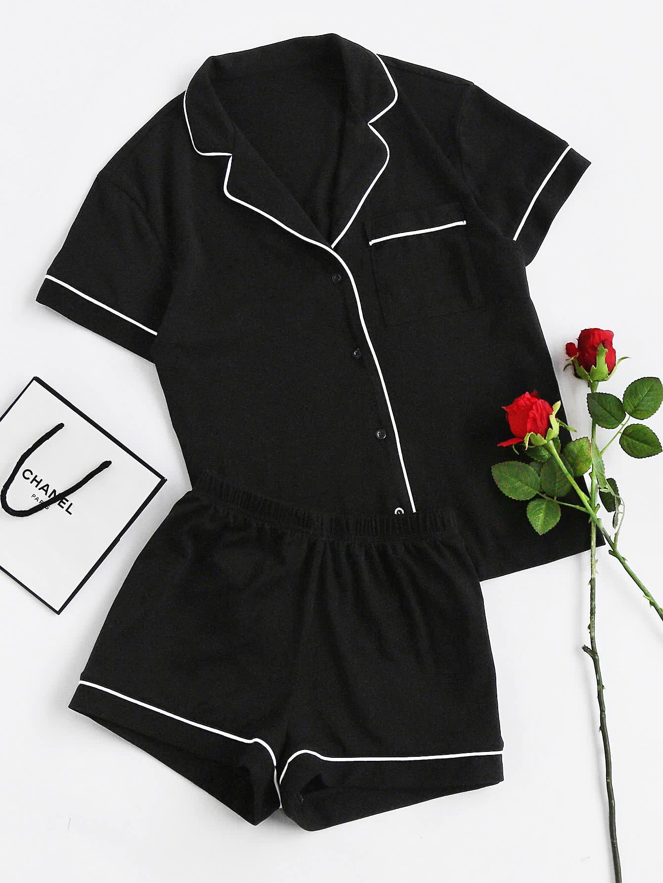 Фото Contrast Piping Pocket Front Pajama Set. Купить с доставкой
