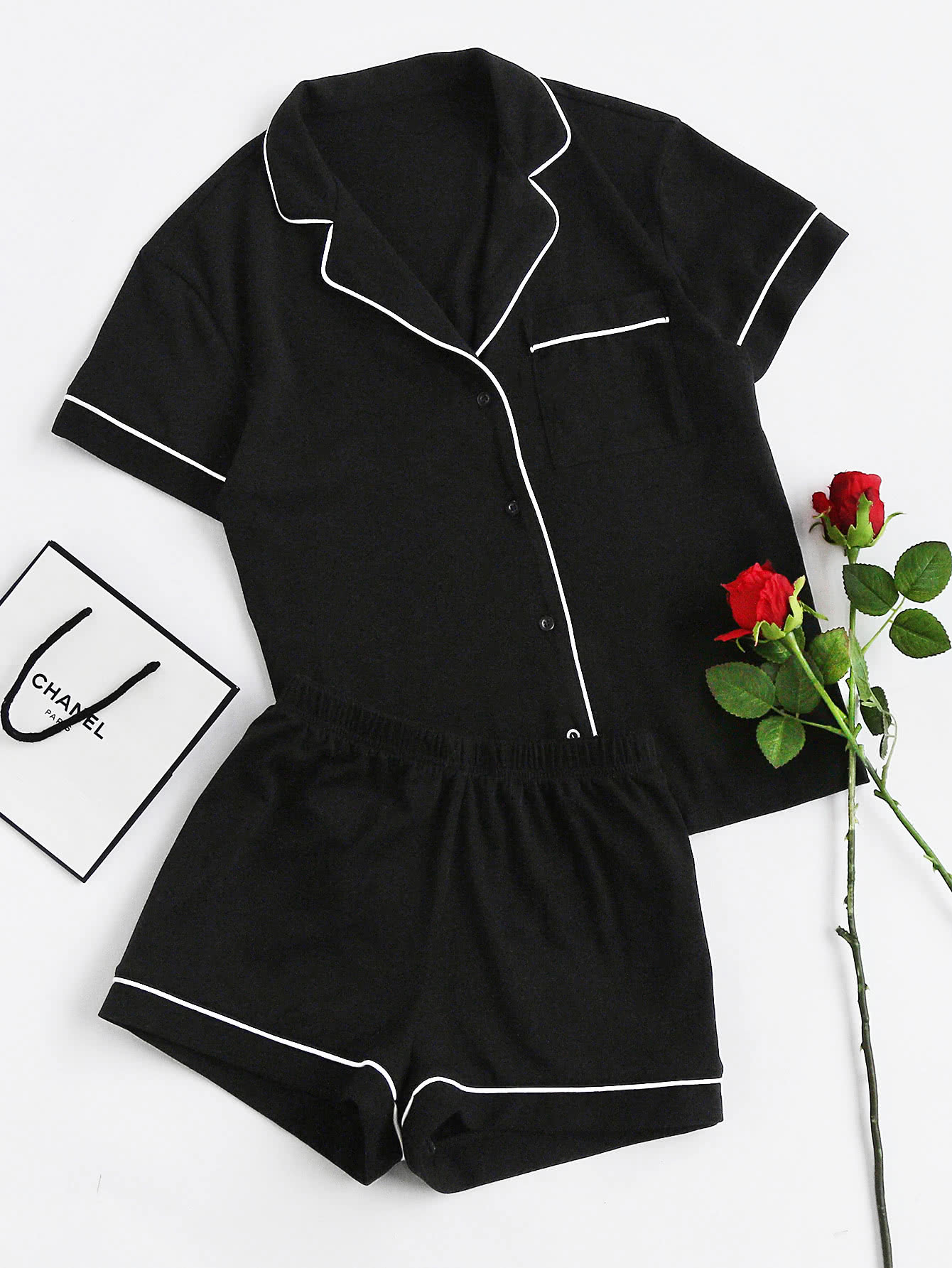 Contrast Piping Pocket Front Pajama Set