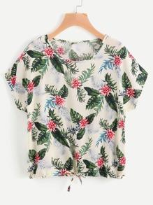 Floral Print Tie Hem Top