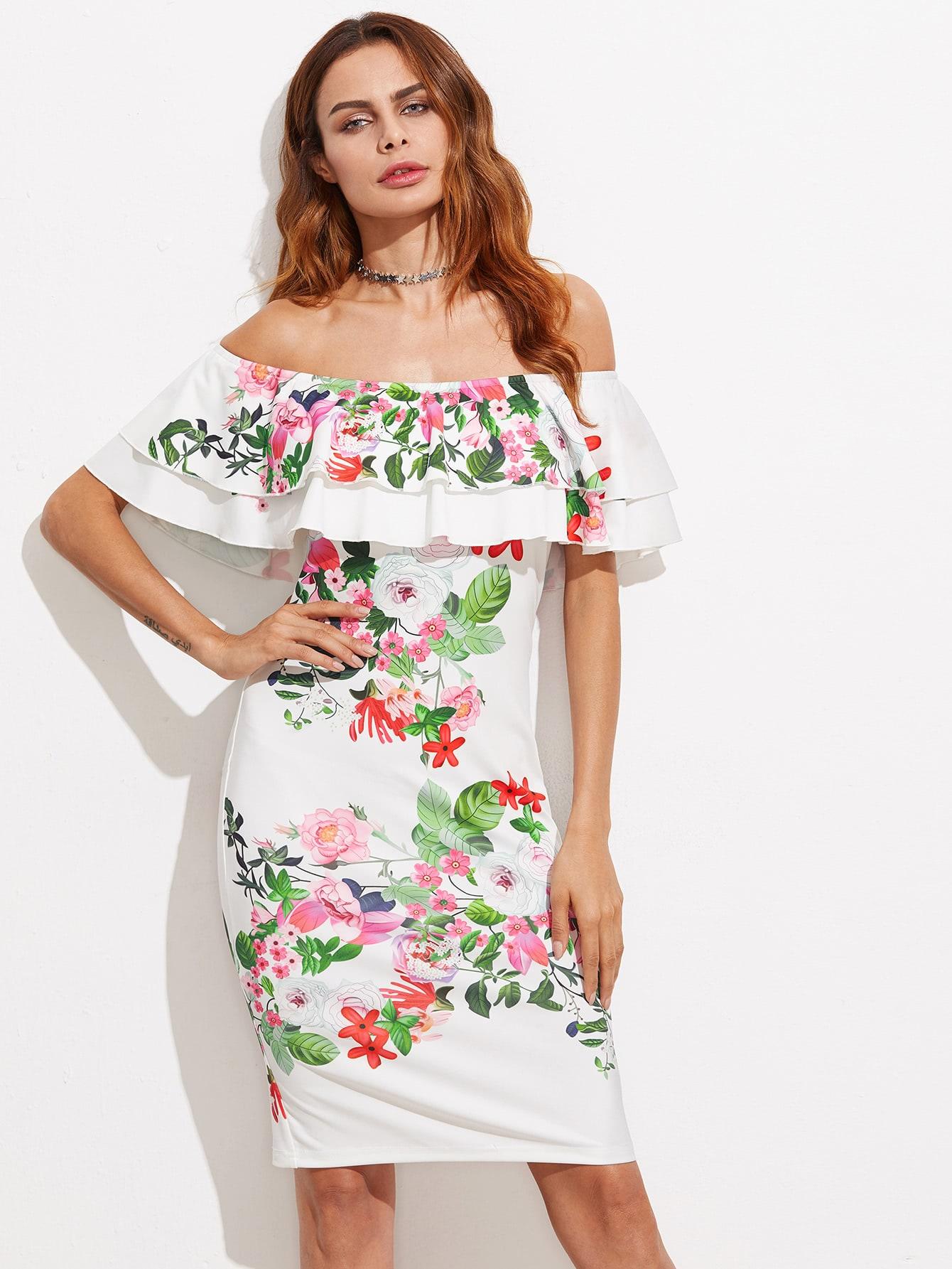 Фото Layered Ruffle Blooming Bardot Dress. Купить с доставкой