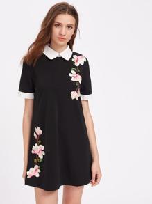 Peach Blossom Appliques Contrast Cuff Dress