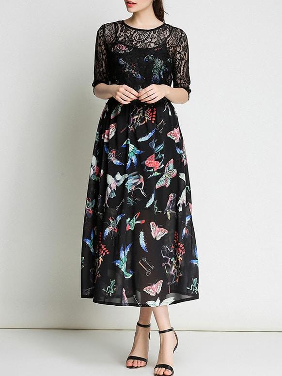 Фото Birds Print Contrast Lace Dress. Купить с доставкой