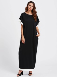 Contrast Trim Hidden Pocket Side Cocoon Dress
