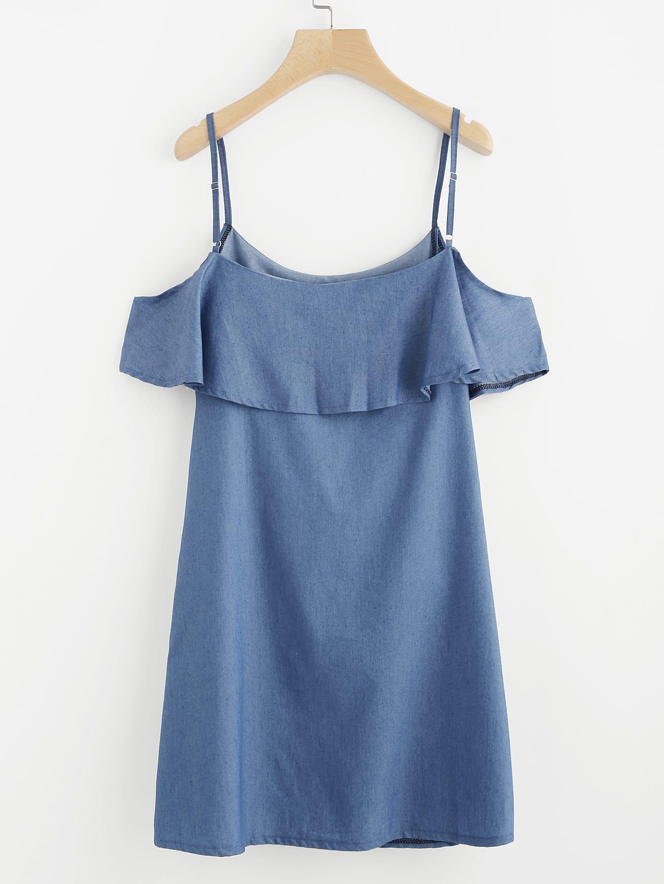 Frill Trim Cold Shoulder Dress dress170516103
