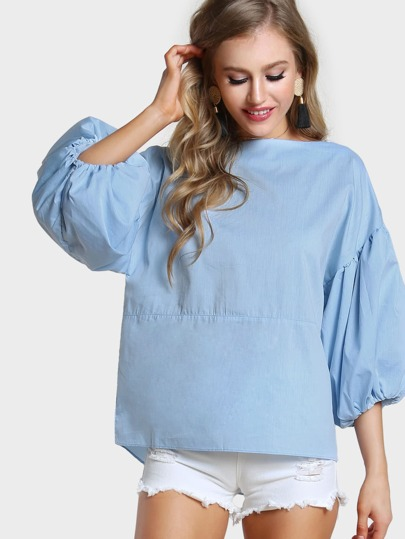 Lantern Sleeve Lace Up Top POWDER BLUE