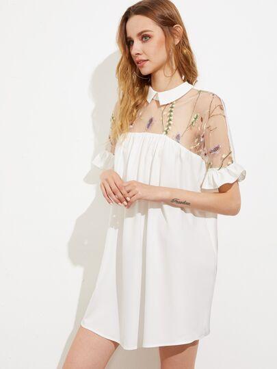 Embroidered Mesh Yoke Tie Back Ruffle Sleeve Smock Dress