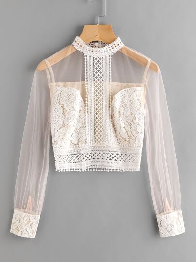 Band Collar Mesh Sleeve Lace Top