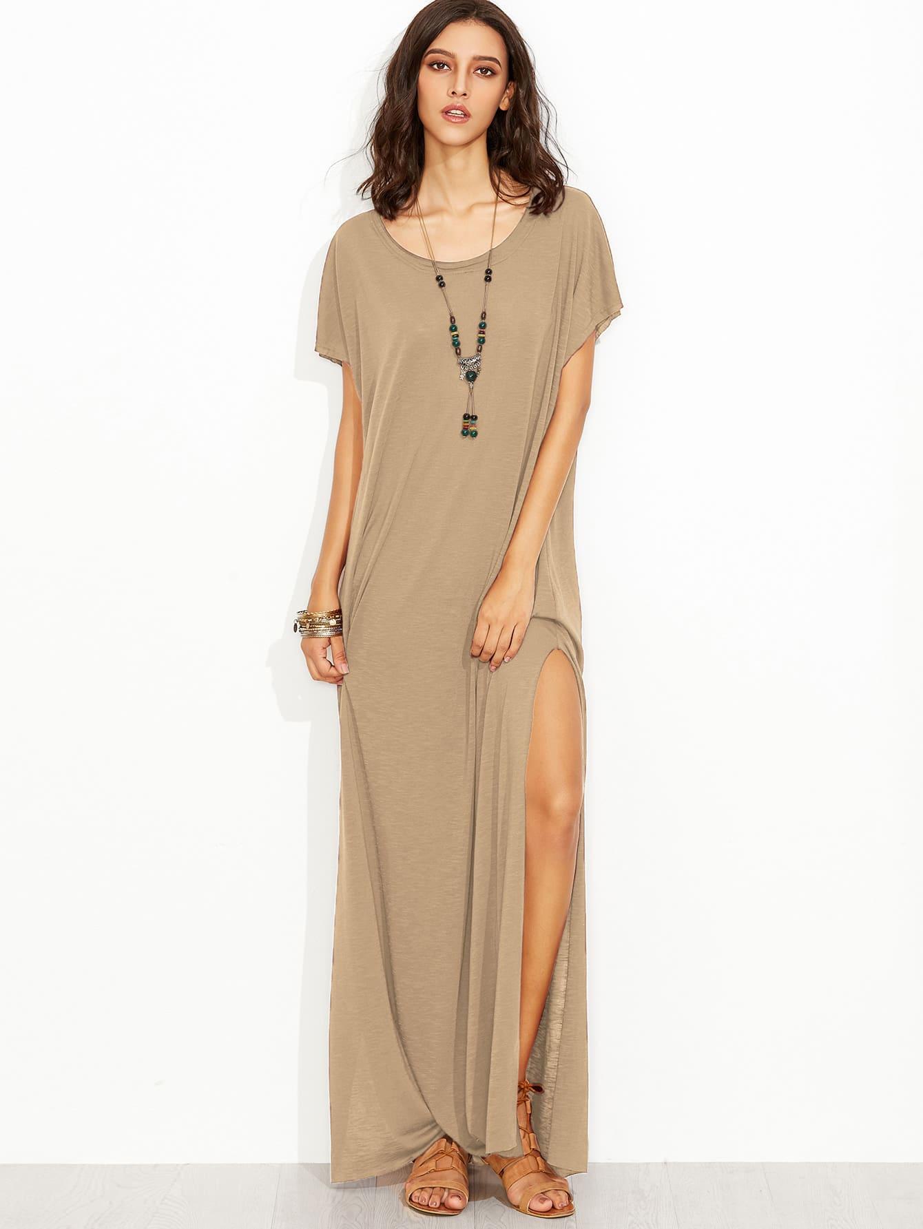 Фото Raw Edge Side Slit Slub Tee Dress. Купить с доставкой