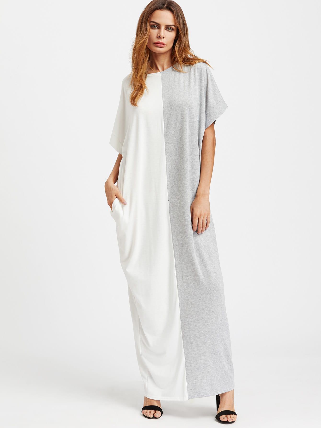 Фото Contrast Cut And Sew Kaftan Dress. Купить с доставкой
